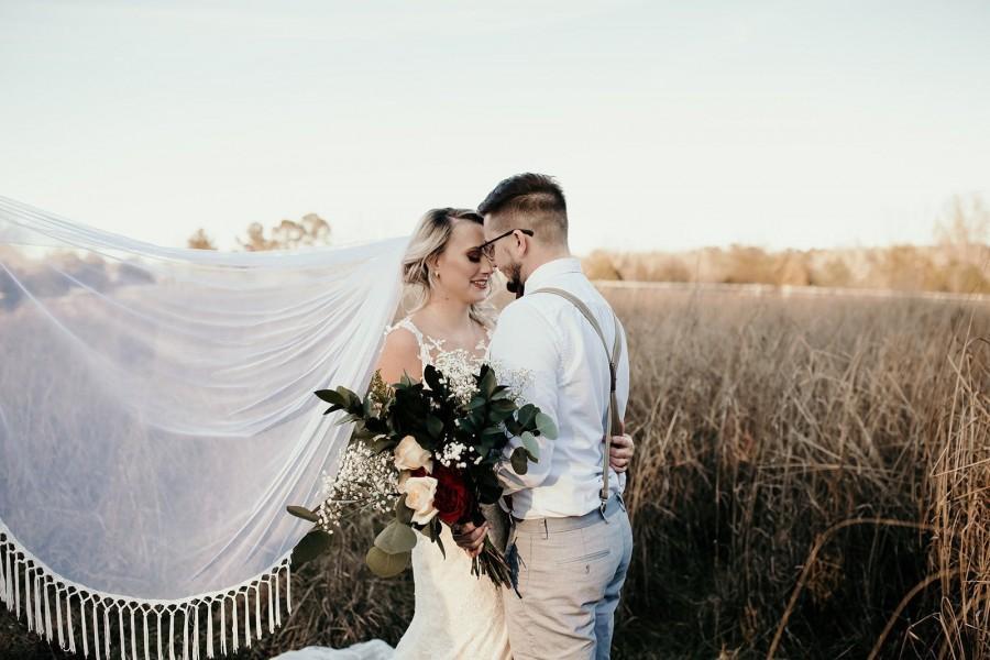 Свадьба - Boho Wedding Veil, Soft English Net Veil Champagne Ivory White Blush