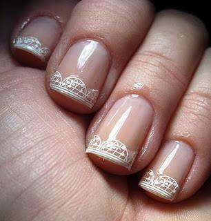 Easy And Beautiful Wedding Bridal Nail Art Design With Lace French Tips Decoration Stickers White Decal For