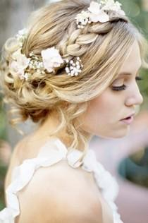 wedding photo - Floral Braided Halo Wedding Hairstyle