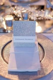 wedding photo -  Silver glitter invitations
