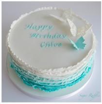 wedding photo - Turquoise Ombre Birthday Cake