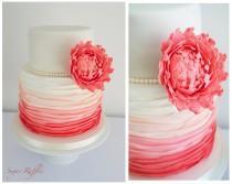 wedding photo - Coral Ombre Wedding cake
