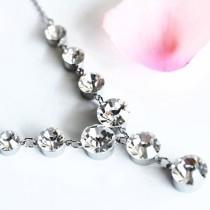 wedding photo - Bridal Swarovski Dangle Earrings & Necklace