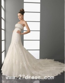 wedding photo - Fantastic A-line Strapless Floor-Length Cathedral Train Wedding Dresses from 27dress.com