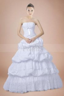 wedding photo - Ball Gown Princess Taffeta Strapless Wedding Dress with Pick-ups