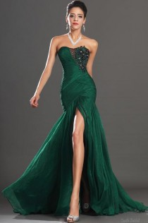wedding photo - Emerald Strapless Beaded Criss-cross Long Prom Dress