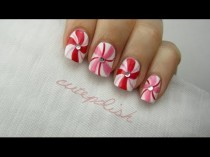 wedding photo - Nail Art for Christmas: Peppermint Swirls!