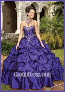 wedding photo - Grape Taffeta Beaded Strapless Sweetheart Pick-up Quinceanera Gown