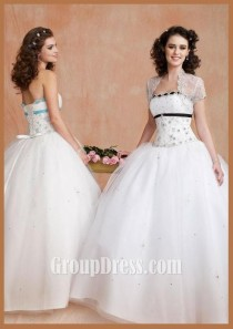 wedding photo - White Beaded Strapless Quinceanera Dress