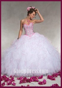 wedding photo - Strapless Sequin Sweetheart Ruffled Contrasting Trim White Quinceanera Dress