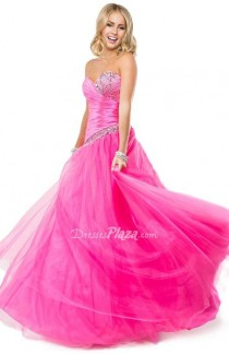wedding photo - Strapless Sweetheart Pink Satin and Tulle Ball Gown Prom Dress
