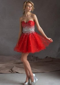wedding photo - Mori Lee 9231 Scarlet Strapless Beaded Short Prom Dress