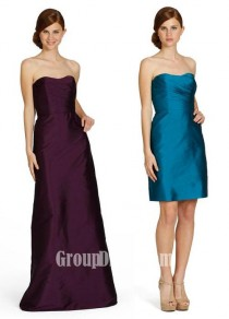 wedding photo - Eggplant Taffeta A-line Strapless Bridesmaid Gown