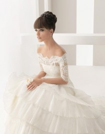 wedding photo - Brautkleid Spitze Schulterfrei langarm