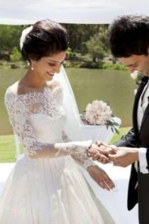 wedding photo - Brautkleid langarm Spitze