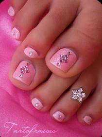 wedding photo - Sparkling pink nail art with silver crystals