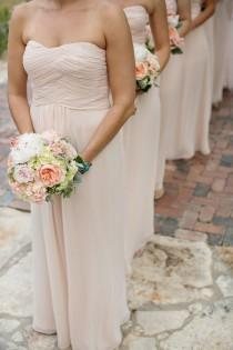 wedding photo - Strapless Pale Pink Bridesmaids