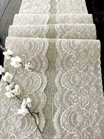 wedding photo - Wedding Table Runner With Beige Lace Rustic Chic Wedding Tablecloth, Burlap And Lace Table Runner, Handmade In The USA