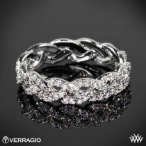 wedding photo - 18k oro blanco del anillo de bodas de diamante Verragio Eterna Trenza