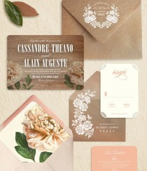 wedding photo - Peach Peony de madera rústico moderno Invitaciones de boda