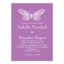 wedding photo - Radiant Orchid Butterfly Wedding Invitation