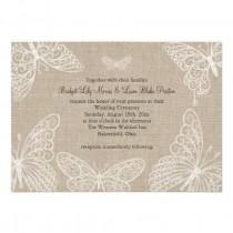 wedding photo - Papillons de dentelle sur invitation de mariage de toile de jute