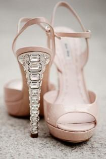 wedding photo - Miu Miu Sandales roses avec le cristal de talon, Superbe!