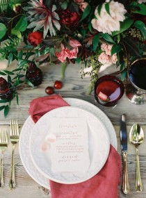 wedding photo - Cranberry mariage table