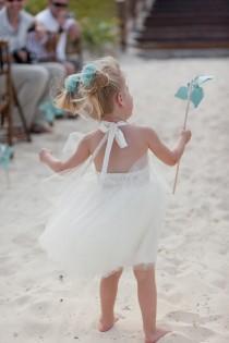 wedding photo - Strand Blume Mädchen-Kleid in Elfenbein-Weiß