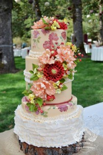 wedding photo - Rustic Floral Hand Painted Wedding Cake