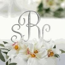 wedding photo - نحى فضة حجر الراين مشبك كعكة الزفاف توبر