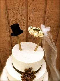 wedding photo - Rustic Wedding Cake Topper Country Fall Weddings