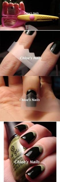 wedding photo - Use Scotch Tape (cut Into All Corts Of Shapes) To Create Easy Nail Art
