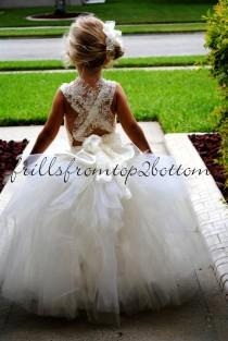 wedding photo - Ivory Flowergirl Dress . Tutu Skirt . Halter Top W/ Lace Straps . Custom Made Hairclip . Sizes 12mo - 5T