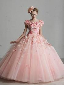 wedding photo - Satin pink wedding dress for the princess