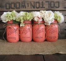 wedding photo - Mason Jars, Ball Jars, Painted Mason Jars, Flower Vases, Rustic Wedding Centerpieces, Dark Coral Mason Jars