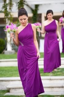 wedding photo - Long Purple Dresses With Jeweled Details