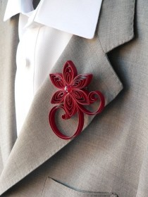 wedding photo - Crimson Red Boutonnière