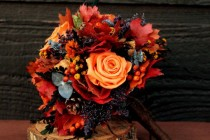 wedding photo - Fall Wedding Bouquet, Autumn Wedding, Autumn Bouquet, Rustic Bouquet, Woodland Wedding, Bridesmaid Bouquet Orange Roses And Fall Foliage