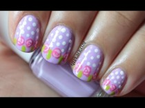 wedding photo - Easter rose nail art