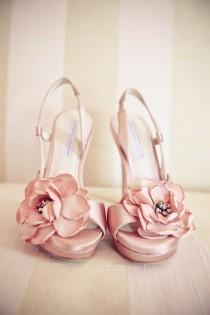 wedding photo - Pretty Pink Wedding Shoes With Flowers