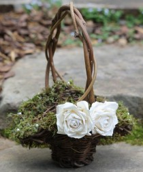 wedding photo - Flower Girl Basket Lined With Moss And Fresh Water Pearls, Roses Rustic Shabby Chic Weddings