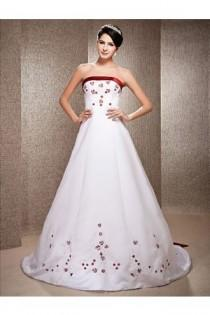 wedding photo - A-line Strapless Chapel Train Satin Wedding Dress