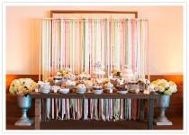 wedding photo - Ribbon Streamer Dessert Table Backdrop