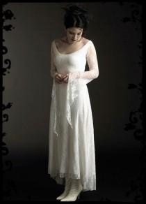 wedding photo - Laurier fée robe de mariée en dentelle - commande élégante gothique Vêtements Et Couture romantique foncé