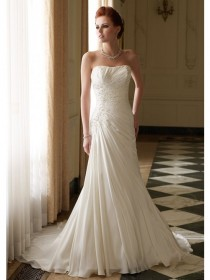 wedding photo - A-Line Strapless Beadings Pleated Chapel Trailing Chiffon Zipper Back Bride Dresses
