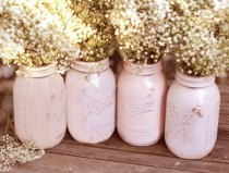 wedding photo - Shabby Chic Weddings / Mason Jars / Distressed Paint Glass Jar Wedding Decoration / Wedding Centerpiece In Shabby Chic Pink