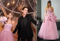 wedding photo - Kaley Cuoco's Pink Vera Wang Wedding Gown (Get The Look!)