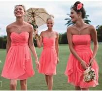 wedding photo - Light Coral Pink Bridesmaids Dress..