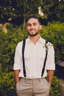 wedding photo - Groom With Suspenders   Boutonniere